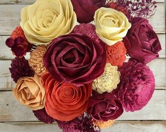 Fall Rose Floral Arrangement - Burgundy - Roses Wooden Flower Bouquet - Sola Flower Bouquet - Wedding - Gift - Forever Flowers