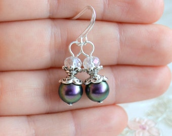 Dark purple bridesmaid jewelry Bridesmaid earrings Will You be my Bridesmaid gift Dark purple Wedding earrings from Swarovski beads