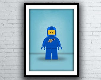 "Blue Classic Spaceman ""Benny"" Lego Minifig Poster Print"