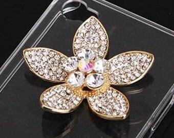 Large Crystal Gold Flower Rhinestone Bling Cabochon Alloy Metal Decoden (TDK-B1080)