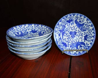 Blue and White Flying Phoenix Fruit Bowls Made in Japan