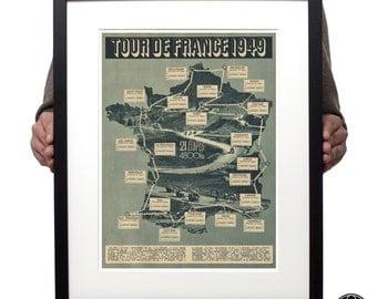 Tour de France 1949 grand tour cycling route map photographic print