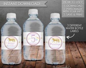 Unicorn Water Bottle Labels, Unicorn Birthday Party, Purple and Gold, Printable Water Bottle Labels, Instant Download, Editable PDF #486