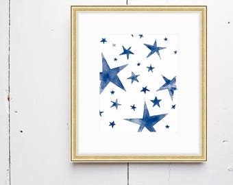 Stars Watercolor Print - SMc. Originals, watercolor painting, nursery decor, nursery art, stars watercolor, nursery watercolor, original art