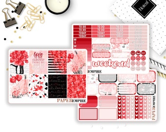 Love Valentines Day | MINI Weekly Sticker Kit - Planner Stickers for Erin Condren Life Planner, Happy Planner, Plum Paper, Filofax, etc.