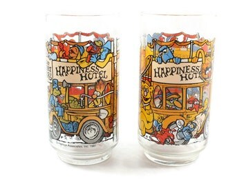 1981 McDonald's The Great Muppet Caper Happiness Hotel Glass Cups Vintage