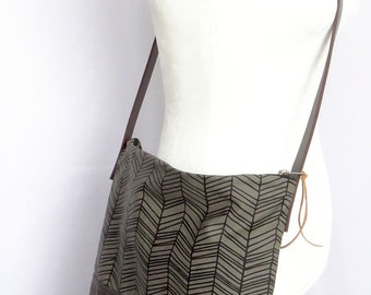 Hand Printed Waxed Canvas Crossbody Bag - Olive Canvas with Chocolate Brown