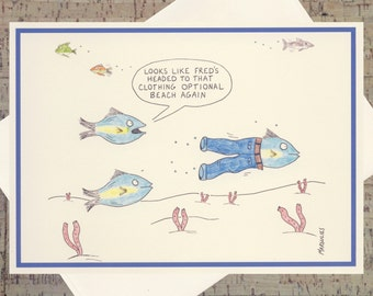 Funny Vacation Card, Funny Travel Card, Funny Card, Humor Card, Funny Fish, Quirky Card, Handmade Greeting Card, Under The Sea, Cartoon Card