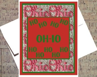 Ohio State Card, Funny Christmas Card, Buckeye Card, Ho Ho Ho Card, Funny Holiday Card, Happy Holidays. Holiday Greeting, OSU Card