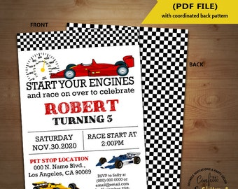 Race car birthday invitation racing cars auto racing party invite Instant Download YOU EDIT TEXT and print yourself invite 5597