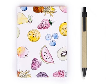 Small Notebook - Fruit Stationery, Recycled Paper, Writing, Notebook, Watercolor, Blank Paper, To do list, Travel, A6 Notebook, Fruit