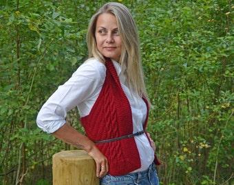 Knit vest/Hand knit wool vest/Bordo vest/Women west