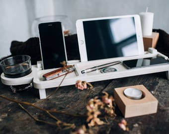 Desk accessories Tablet stand Tablet holder electronics organizer mens valet tray wood valet box valet stand wooden docking charging