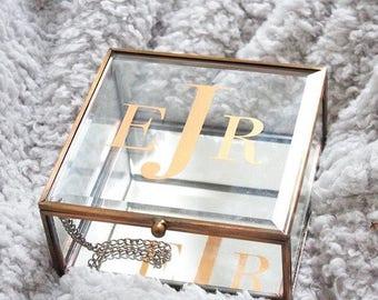 Gold jewelry treasure box monogram personalized name glass