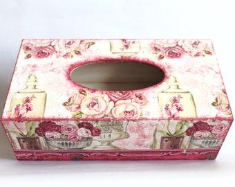 Tissue box, tissue box cover, tissue holder, floral tissue box, kitchen decor, napkin holder, wooden tissue box cover, decoupage tissue box