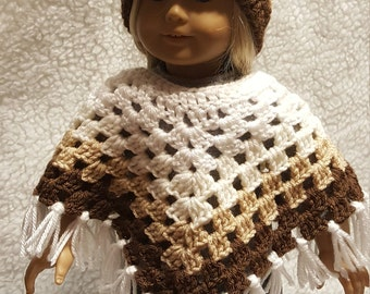 Brown,Tan,Off White and White crocheted Poncho with matching Hat