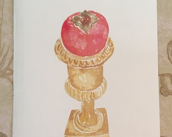 Botanical Study of a Persimmon  in a little urn Watercolor Print