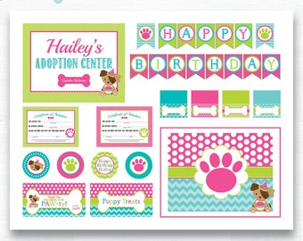 Puppy Party Birthday Package, Party Printables, Puppy Paw-ty, Girl Birthday Puppy Party, Dog Party, Dog Birthday Party