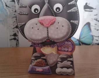 Cat Box Card, Birthday Card, Cat Lover Card, 3D Card, Greeting Card, Handmade Card