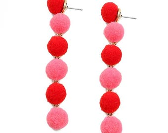 Whimsical 6-Tiers Red And Pink Pom Pom Earrings