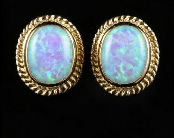 Opal 9ct Yellow Gold Rope Edge Stud Earrings 5ct