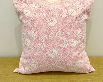 """Romantic White Lace on Pink Background Textured Cushion Cover Decorative Throw Pillow. 18"""" (45cm). Cushion Covers Australia"""