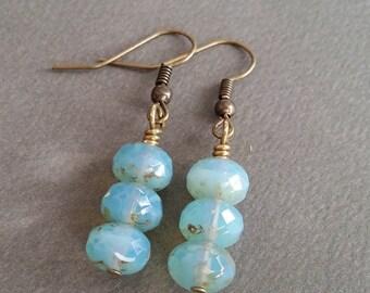 Rich Aqua Stacks . Earrings