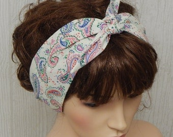 Rockabilly self tie headband, women's cotton hair band, 50's hair scarf, pin-up head scarf, retro head wrap, gift idea, vintage style