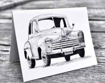 Art print notecard, antique car, masculine birthday, classic car, ford coupe, father's day card, pencil drawing, original artwork, grayscale