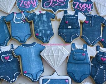 One Dozen Denim, Diamonds And Pearls Baby Shower Sugar Cookies   Custom  Sugar Cookies