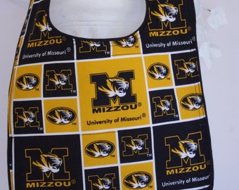 Bib Mizzou Missouri Tigers terry cloth snap closure quilted bib