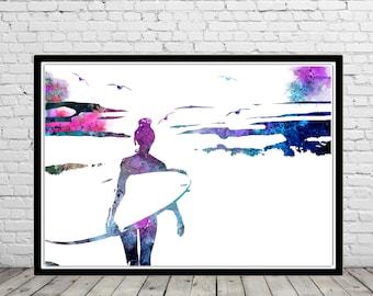 Surfer girl, Surf print, Ocean art, surfboard print, Wave, sealife, watercolor art print, home decor, surfboard, surfe (2495b)
