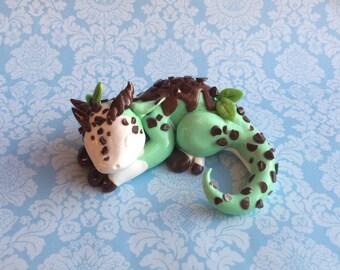Dragon sculpture mint chocolate chip ice cream dragon OOAK figurine green white and brown sleeping dragon