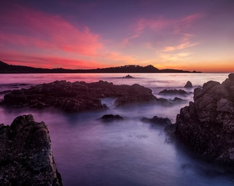 Electric Sunset - point lobos,purple sunset,electric clouds,pink clouds,carmel,california,western scene,striking,monterey,moody sunset