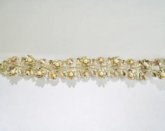 Rhinestones & Faux Pearls Bracelet