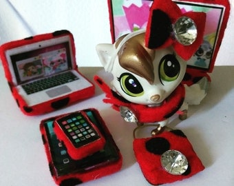 Littlest Pet Shop LPS Clothes Accessories Laptop Table Cellphone Bow Bag TV Led Scarf