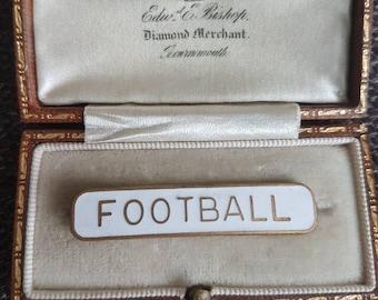 Vintage school Prefect FOOTBALL white enamel badge pin