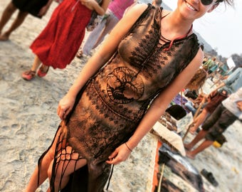 Hand printed tailed dress...Black & brown hoody braided dress...Boho style every day dress...Tree of life dress