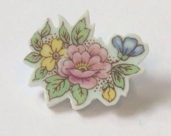 Upcycled china brooch pin/ Cut china brooch pin/ Floral brooch