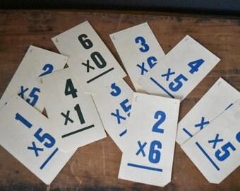 Vintage Flashcards - Vintage School - Math Flashcards - Art Journals - Scrapbook Supplies