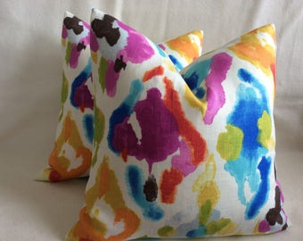 "Abstract Watercolor Designer Pillow Covers - P Kaufmann ""Jewelscape"" Linen Fabric - 2pc Set - 18x18 Covers"