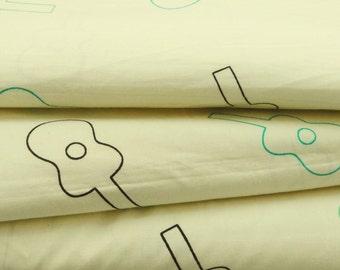 "Decorative Cotton Fabric For Sewing Designer 45""Wide Pure Cotton Fabric Guitar Printed Sewing Fabrics Craft Drape Dress By 1 Yard ZBC6359"