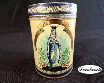 Box vintage lithographed sheet remember Lourdes Virgin Mary vintage France box cakes vintagefr