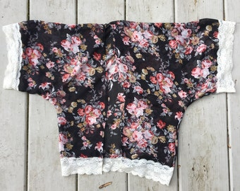 Rosie Posie kimono in black floral chiffon and lace