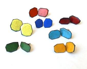 Enameled studs. Geometrical. Blue, yellow, orange, red, green, turquoise.