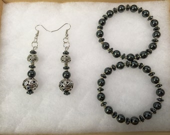 Hematite and Antique Silver Earring and Bracelet Set