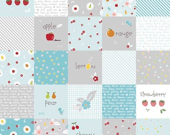 Sweet Orchard Main Designer Cloth Aqua - Riley Blake Designs - Blue Fruit Squares - Quilting Cotton Fabric - choose your cut
