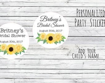 Custom Summer Sunflower Watercolor Thank You Bridal Shower Stickers, Favor Tags, Labels, Wedding Labels, Wedding Favour Stickers,