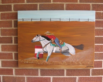 Horse Painting Barrel Racing Rodeo Western Art Cowboy Art Cowgirl Art Horse Decor Rodeo Decor