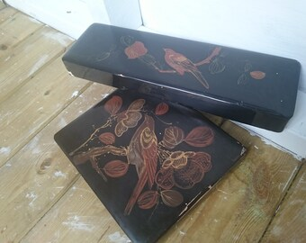 Gorgeous Lacquered Vintage Handkerchief and Glove Boxes Bird Design Black